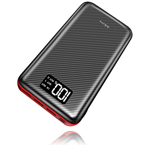 Power Bank Portable Charger 24000mAh High Capacity with Digital Display LCD Screen, 3 USB Output & Dual Input, External Battery Pack for iPhone, iPad, Samsung Galaxy Smartphones and More (Red) by Aikove