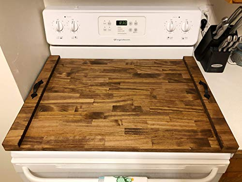 (Rustic Stove Top Cover, Wooden Tray For Stove, Stove Top Tray, Stove Tray, Decorative Tray, Cook Top)