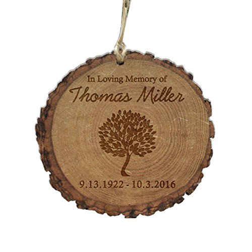 Personalized in Loving Memory Wood Round Ornament, 4