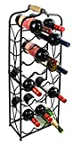 PAG 23 Bottles Metal Wine Racks Stand Display Holder with Wood Handle, Black