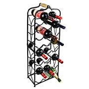 PAG 23 Bottles Free Standing Floor Metal Wine Racks Wine Storage Holders Stands Display Shelf with Wooden Handle, Black