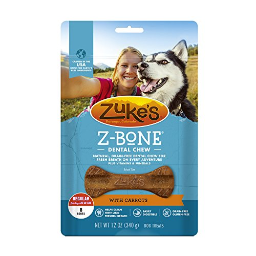 Picture of Zuke's Z-Bones Natural Grain-Free Dental Chew Regular (Pack of 2), Carrot - 16 Chew Bones Total