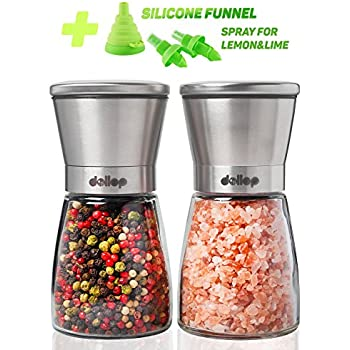 Salt and Pepper Grinder Set – Glass Shakers & Adjustable Ceramic Rotor in 2 Stainless Steel Mills + Silicone Funnel & 2 Citrus Sprayer – Best for Tasty and Healthy Food by Dollop …