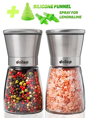 Dollop Salt and Pepper Grinder Set – 2Mills for Salt&Pepper + Silicone Funnel for Filling Mill with Spices + Spray for Lemon - Glass Body&Adjustable Ceramic Rotor – Best for Tasty and Healthy Food