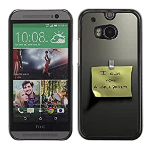 Hard Protector Case Cover Slim Back Shell for HTC One M8 /Posit Funny Text Sign Yellow Metal/ STRONG