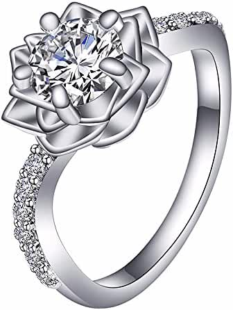 UBEI 925 Sterling Silver Cubic Zirconia Snow Lotus Flower Rings For Women Girl Wedding Engagement Ring