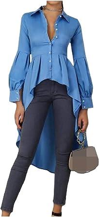 ShuangRun Blusa de Mujer con Manga de Farol de un Solo Pecho, Vestido Medio, Blusa de Cola de Milano, Azul Cielo, US XS=China S Azul Azul Celeste L: Amazon.es: Ropa