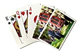 An Old Vintage Red Tractor Standing on a Farm Field at Sunset 9008417 (Playing Card Deck - 52 Card Poker Size with Jokers)