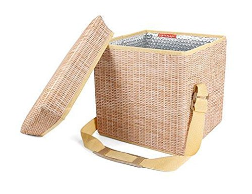 Collapsible Wicker Print Picnic Cooler/Seat CD139 by Kikkerland