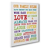 Colorful Family Rules Canvas Wall Art