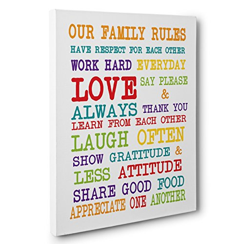 Colorful Family Rules Canvas Wall Art by Paper Blast