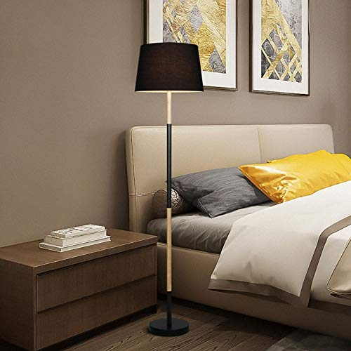 Light Luxury Floor Lamp Nordic Bedroom Living Room Vertical Floor Lamp, Modern Minimalist Hotel Solid Wood Led Floor Lamp,Black