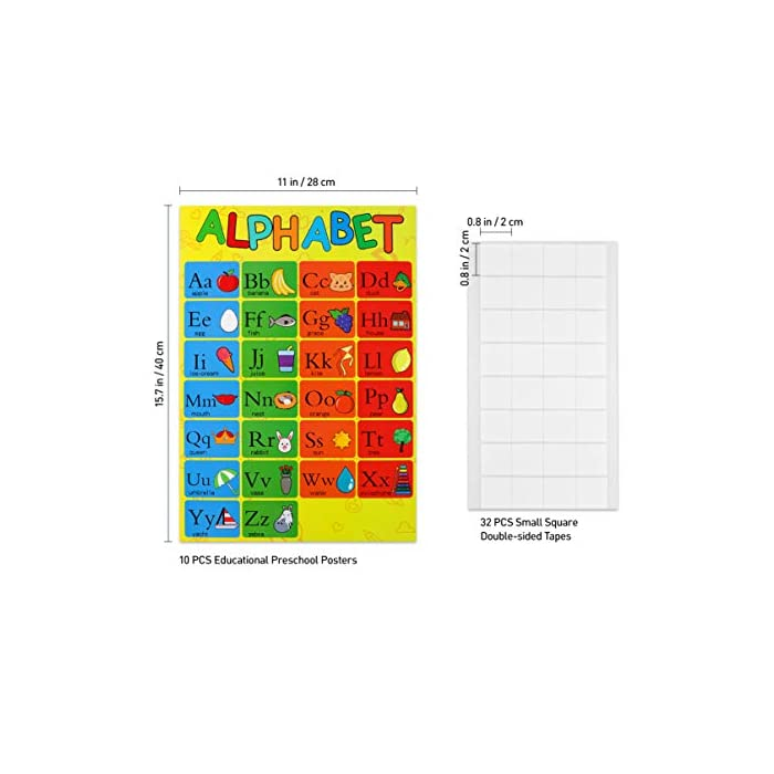 51CSTEZlXsL 10 cartas de carteles de pared de diferentes colores brillantes incluyen letras del alfabeto, números 1-10, números 1-100, formas, colores, estaciones, animales, semana, meses, clima. El póster educativo de cada niño único presenta una variedad de colores llamativos e imágenes lindas y amigables para los niños que les ayudan a mantenerse enfocados mientras aprenden en casa o en el aula. Nuestros carteles preescolares son de aproximadamente 16 x 11 pulgadas y están impresos en papel de calidad para mayor durabilidad. Estos carteles educativos para niños son resistentes a la rotura y al desgaste y son perfectos para el uso en el hogar y el aula.