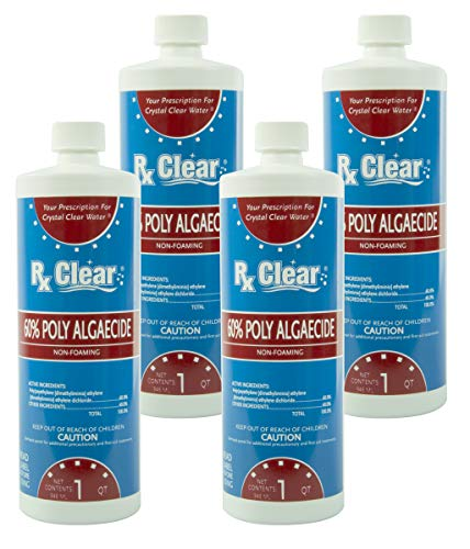 Rx Clear Swimming Pool Algaecide 60 Plus | Above or Inground Pools | Keeping Algae in Suspension | One Quart Bottles | 4 Pack