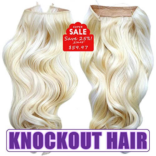 Knockout Hair 20-Inch Fiber Wavy Hair Extensions, 150 Grams,  #613/1001S - Lightest Blonde/Platinum Blonde (Lifetime Platinum Rings)