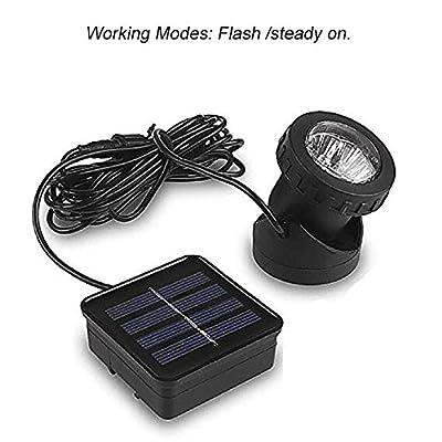Aveki Solar LED Landscape Spotlight,Waterproof 6 LEDs Pond Light Underwater Light Adjustable Lighting Angle,Security Lighting Dark Sensing Auto On/Off for Outdoor Garden Courtyard Lawn Fish Tank Pool