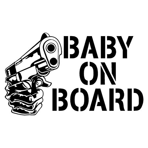 two (2) Baby On Board GUN Cartoon Sicker Decal Laptop Car bumper Truck Door Window Shop (Best Gunpowder For 9mm)