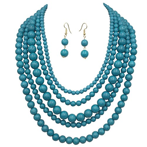 5 Row Beaded Layered Stone Look Necklace & Dangle Earring Set (Ocean Blue) ()