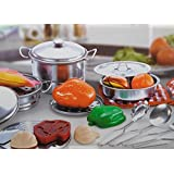 Allkindathings Children's Quality 23 Piecestoy Stainless Steel Kitchen Set Pots Pans and Accessories