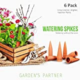 Set of 6 Plant Watering Spikes Terracotta Self Watering Wine Bottle Stake Set with Automatic Vacation Plant Watering System- Great for Indoor & Outdoor Home and Office Plants