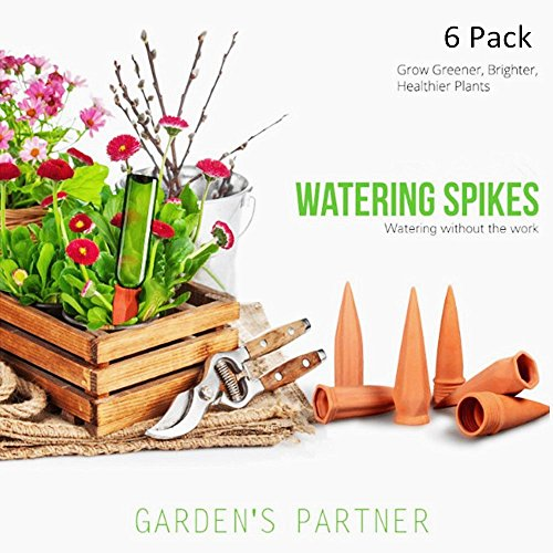 Set of 6 Plant Watering Spikes Terracotta Self Watering Wine Bottle Stake Set with Automatic Vacation Plant Watering System- Great for Indoor & Outdoor Home and Office Plants by SmartUlife