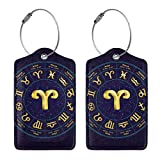 IEHFE MCNXB Aries in Circle Leather Luggage Tags