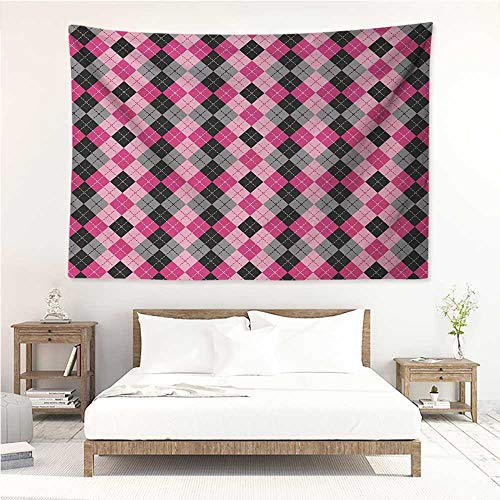 alisos Abstract,Wall Decor Tapestry Argyle Motif with Diamonds and Lozenges Infinite Symmetric Stripes Image 84W x 70L Inch Tapestry Wallpaper Home Decor Baby Pink Black Grey