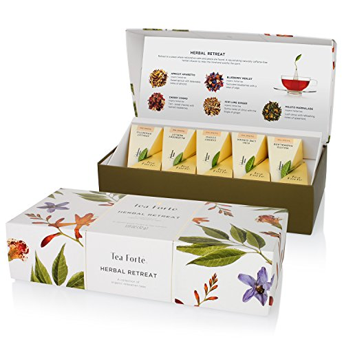 Tea Forté HERBAL RETREAT Petite Presentation Box with 10 Handcrafted Pyramid Tea Infusers - Relaxing Herbal Tea (Gourmet Tea Baskets)