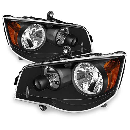 (For 2008-2016 Chrysler Town & Country | Dodge Grand Caravan Black Headlights Headlamps Left + Right)