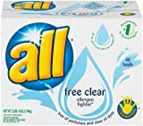 All Powder Laundry Detergent, Free Clear Allergen Fighter, 40-Load Box (Pack of 4)