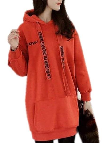Mujer Hoodies Largos Otoño Invierno Sudadera Manga Larga con Cordón Tallas Grandes Sudaderas con Capucha Modernas Casual Elegante Moda Sudaderas Termica ...