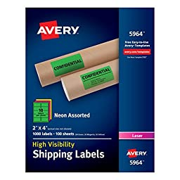 Avery High-Visibility Neon Shipping Labels for Laser Printers 2\
