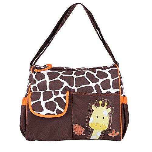 Gran capacidad impermeable momia bolsa de pañales Bolsos con cambiador Giraffe green Giraffe orange