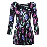 Wintialy Fashion Womens Casual Floral Print Shirts 3/4 Sleeves O-Neck Tunic Blouse Tops (Medium, Purple)