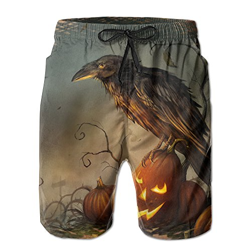 Halloween Raven Pumpkin Men's Tropical Quick Dry Board Shorts Bathing Suits Swimwear Volley Beach Trunks