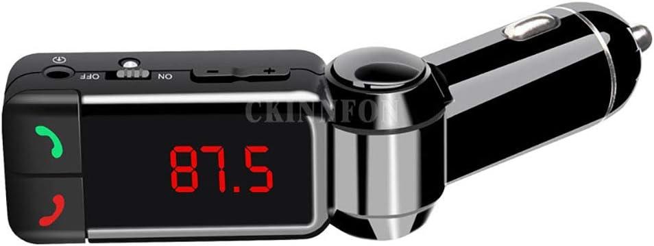WYYHAA Transmisor FM Bluetooth para el Coche, Cargador del Coche Reproductor de Audio MP3 Bluetooth Manos Libres Bluetooth Reproductor MP3 Pantalla LCD Cargador USB