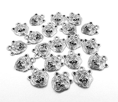 Set of Twenty (20) Silver Tone Pewter Bear Head Charms