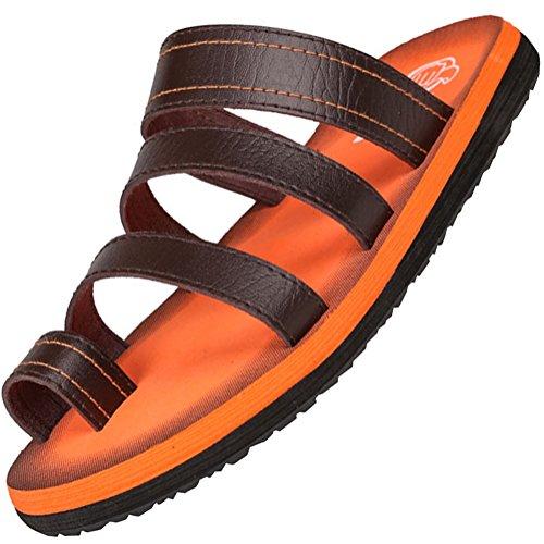 Odema Mens Leather Flip Flops Slip on Slippers Summer Sandals Shoes Orange