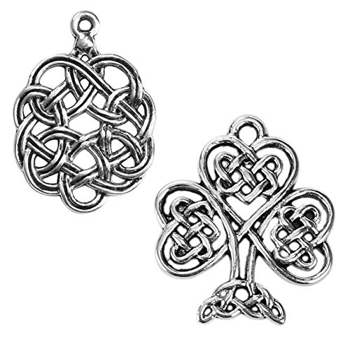 - Celtic Charms, 96 pc (48 of Each) Antiqued Silver Tone Pendants, Knot and Tree of Life