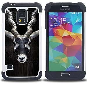 """SAMSUNG Galaxy S5 V / i9600 / SM-G900 - 3 en 1 impreso colorido de Altas Prestaciones PC Funda chaqueta Negro cubierta gel silicona suave (Impala Cuernos Negro Naturaleza Minimalista"""")"""