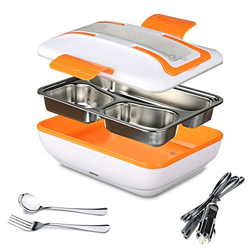 SUPOW Lunch Box, Portable Electric Heating Lunch Warmer Box with Removable Stainless Steel Container Food Heater and a Car Charger (Orange)