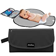 Zooawa Portable Diaper Changing Pad Mat Waterproof Folding Station Clutch Travel Carrying Bag for Baby Infants, Black