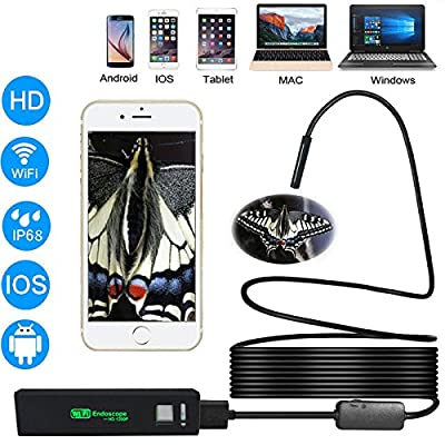 WiFi Endoscope, Wireless Borescope Inspection Camera 1200P HD 2.0 Megapixels Snake Camera for Android, IOS Smartphone, Tablet, Ipad