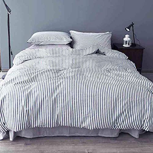 NANKO Striped Queen Duvet Cover Set, 3 Piece - 1200TC Microfiber Bedding Comforter Quilt Cover Zip Closure, Tie - Best Modern Style for Men and Women, Navy Blue and White (Queen, Striped) (Duvet Cover Queen White Stripe)