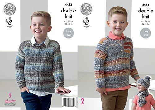 King Cole Double Knitting Pattern Boys Easy Knit Sweaters Jumpers Hat & Scarf Drifter DK (4453) by King (Striped Knit Hat Pattern)