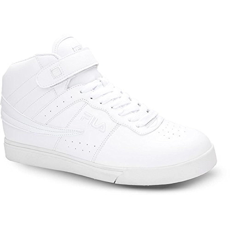 Fila Men's Vulc 13 High Top Strap Fashion Sneakers, White Synthetic, 11.5 M
