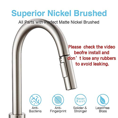 Touch On Kitchen Faucets with Pull Down Sprayer, Kitchen Sink Faucet with Pull Out Sprayer, Fingerprint Resistant, Single Hole Deck Mount, Single Handle Copper Kitchen Faucet, Brushed Nickel, FORIOUS by FORIOUS (Image #3)