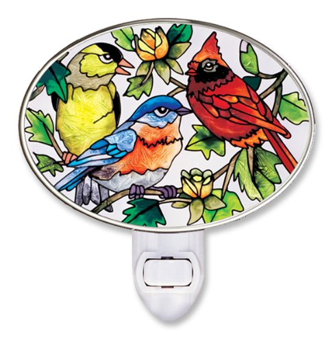Amia 8504 Hand Painted Glass Night Light, Songbird Design, 4-3/4-Inch, - Glass Songbirds Stained