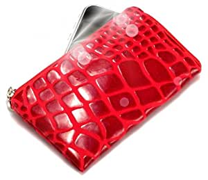 """""""Geco"""" Rojo, Lujosa Billetera / Sostenedor en imitación de cuero acolchonado y con cierre para LG GT365. Auténtica Funda / Estuche con correa para transportar para teléfonos móviles."""