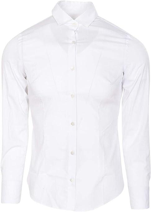Eleventy Camisa Hombre Weiss algodón Slim Fit Camisa de ...